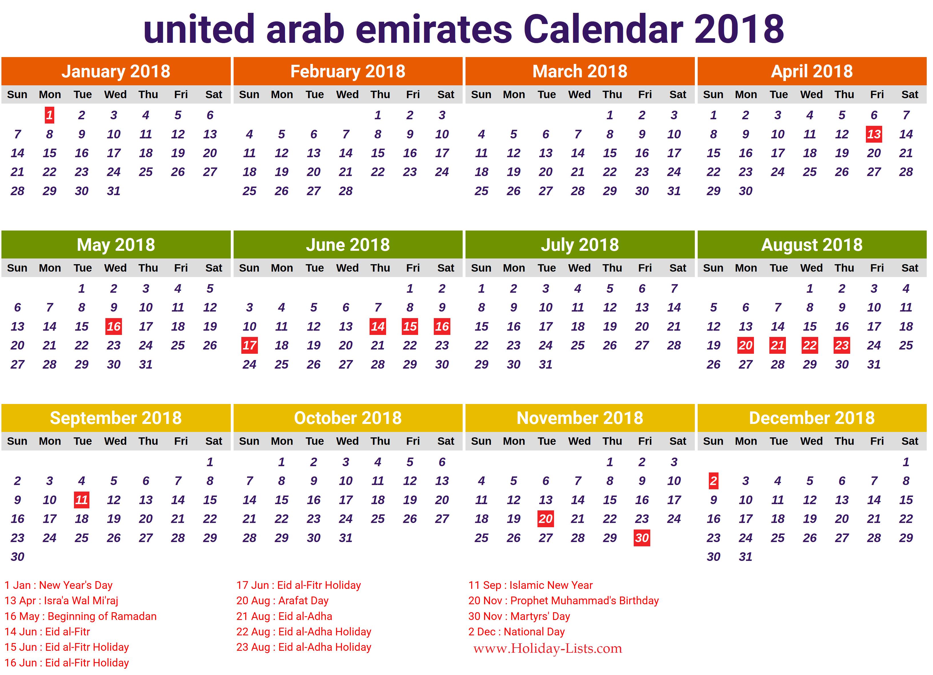 UAE calendar 2018